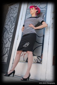 Bondi Holly in a Poisoned Creations' Snitches Get Stiches pencil skirt.  Photo: Bobby Stewart