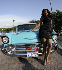 "Honey Cocoa Bordeauxx models with a 1957 Bellaire that took home the ""Best in Show"" hot rod award"