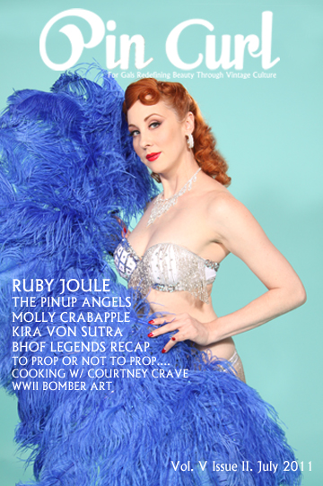 Pin Curl July 2011 cover featuring Ruby Joule.  Photo: DallasPinUp.com, MUAH: Ladonna Stein