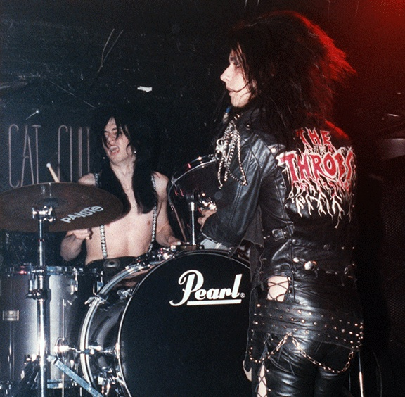 Ronnie drumming with The Throbs at the Cat Club in NYC in 1988. Photo by Lori Struble.